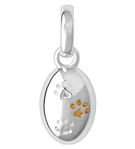 LINKS OF LONDON 18ct yellow gold and sterling silver paw print charm (Silver