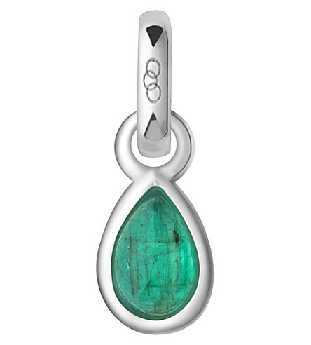 LINKS OF LONDON May sterling silver and emerald mini birthstone charm (Green