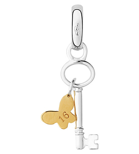 LINKS OF LONDON Sterling silver and 18ct yellow gold vermeil 16th birthday key charm (Silver