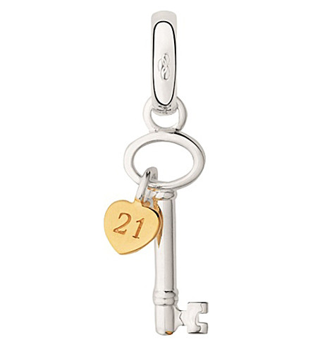 LINKS OF LONDON Sterling silver and 18ct yellow gold vermeil 21st birthday key charm (Silver