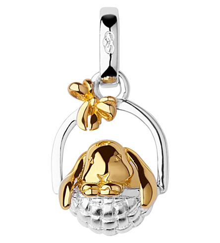 LINKS OF LONDON 18ct yellow-gold vermeil and sterling silver bunny in a basket charm (Silver