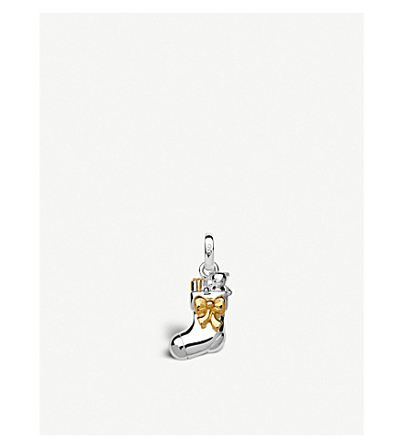 LINKS OF LONDON Christmas Stocking sterling silver and yellow-gold vermeil mini charm