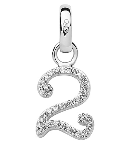 LINKS OF LONDON Sterling silver and diamond number charm