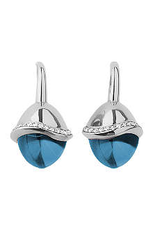 LINKS OF LONDON Infinite Love Blue Topaz 18ct white gold pave set diamond earrings