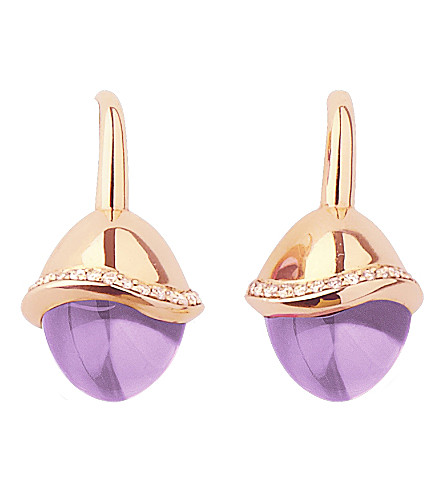 LINKS OF LONDON Infinite Love amethyst 18ct rose gold pave set diamond earrings