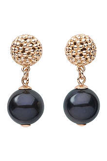 LINKS OF LONDON Effervescence Black Pearl 18ct gold drop earrings