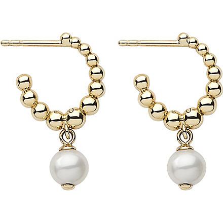LINKS OF LONDON Effervescence White Pearl 18ct gold hoop earrings
