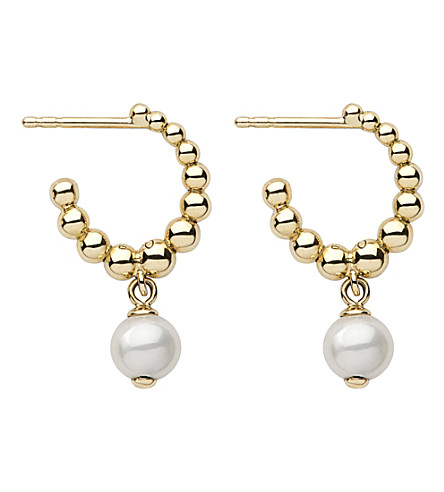 LINKS OF LONDON Effervescence White Pearl 18ct gold hoop earrings