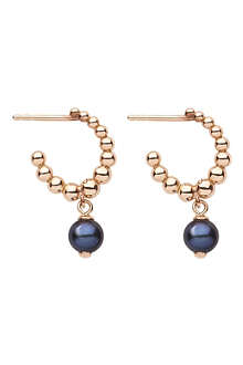 LINKS OF LONDON Effervescence Black Pearl 18ct gold hoop earrings