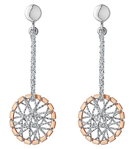 LINKS OF LONDON Sterling silver and 18ct rose gold vermeil dream catcher drop earrings (Mixed+metal