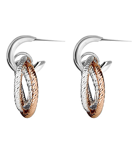 LINKS OF LONDON Aurora sterling silver and 18ct rose gold vermeil hoop earrings (Mixed+metal