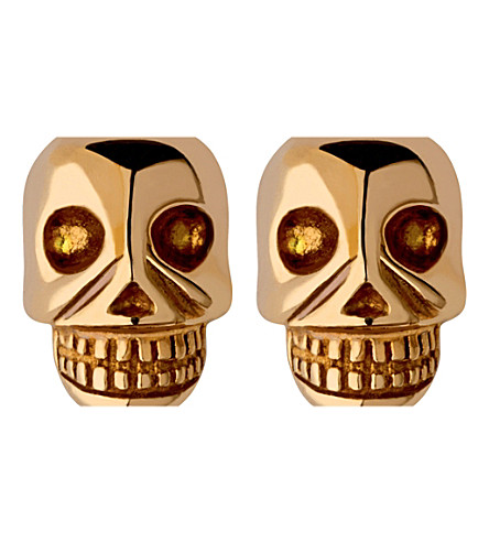 LINKS OF LONDON Mini skull yellow gold vermeil stud earrings