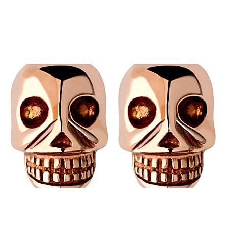 LINKS OF LONDON Mini skull rose gold vermseil stud earrings