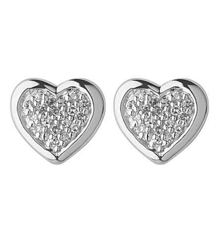 LINKS OF LONDON Diamond heart stud earrings (Silver