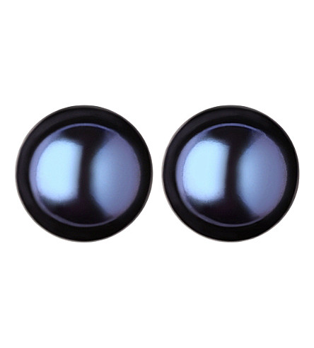 LINKS OF LONDON Effervescence Large Black Pearl stud earrings