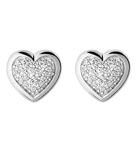 LINKS OF LONDON Diamond essentials silver and diamond heart stud earrings