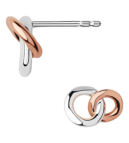 LINKS OF LONDON 20/20 sterling silver and 18ct rose gold-plated stud earrings (Mixed+metal