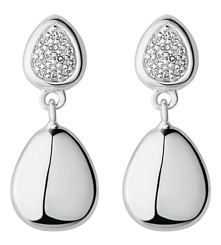LINKS OF LONDON Sterling silver and diamond drop stud earrings (Silver