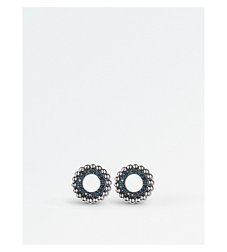 LINKS OF LONDON 冒泡纯银和蓝色钻石螺柱耳环