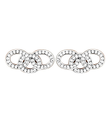 LINKS OF LONDON Signature 18ct rose gold and sapphire stud earrings (Rose+gold