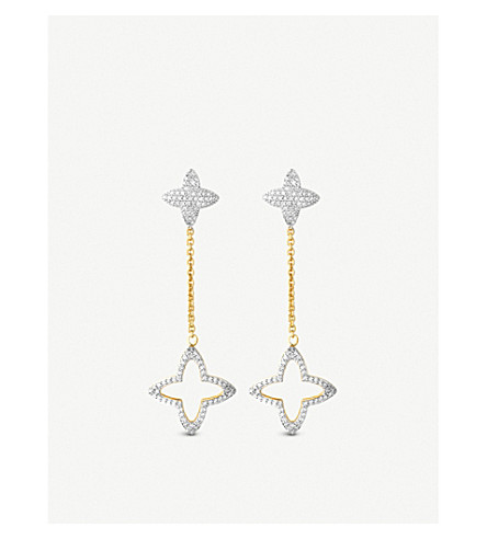 LINKS OF LONDON SPLENDOUR 18CT YELLOW-GOLD DIAMOND FOUR-POINT STAR DROP EARRINGS