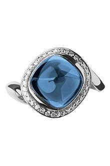 LINKS OF LONDON Infinite Love blue topaz 18ct white gold ring