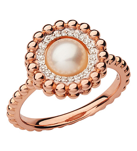 LINKS OF LONDON Effervescence 18ct rose gold, diamond and pearl ring (Rose+gold