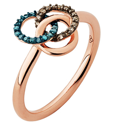 LINKS OF LONDON Treasured 18ct rose-gold vermeil and diamond ring