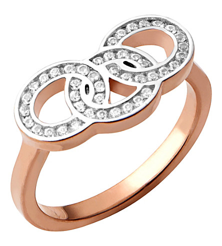 LINKS OF LONDON Signature 18ct rose gold and sapphire stud ring (Rose+gold
