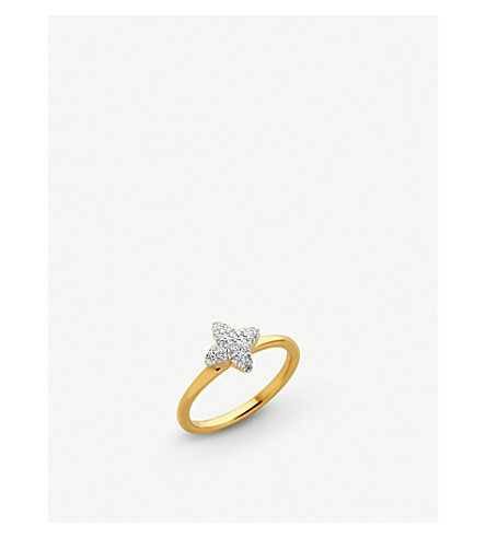 LINKS OF LONDON Splendour 18ct yellow-gold diamond four-point star ring