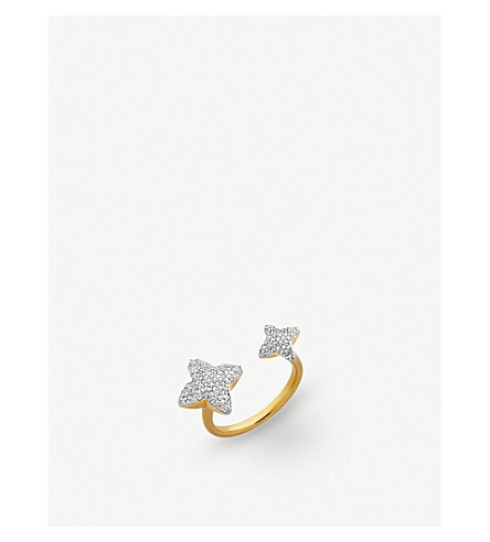 LINKS OF LONDON Splendour 18ct yellow-gold diamond four-point double star ring