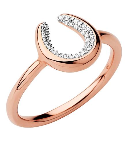 LINKS OF LONDON Ascot Diamond Essentials 18ct Rose Gold Vermeil Horseshoe Ring