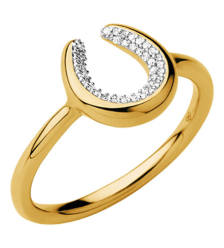 LINKS OF LONDON Ascot Diamond Essentials 18ct Gold Vermeil Horseshoe Ring