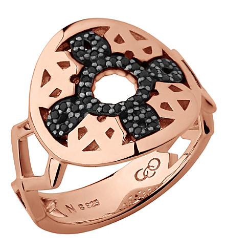 LINKS OF LONDON Timeless 18ct rose gold-vermeil and sapphire ring