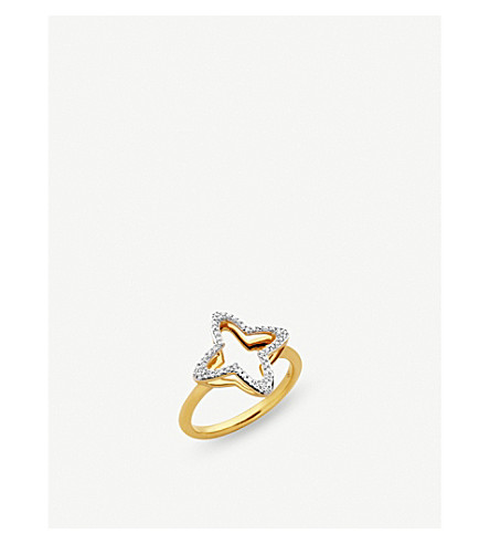 LINKS OF LONDON Splendour 18ct yellow-gold vermeil and diamond four-point star ring