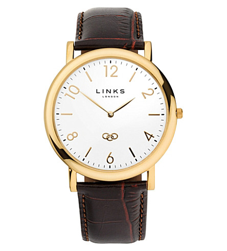 LINKS OF LONDON Noble yellow-gold plated watch (Brown