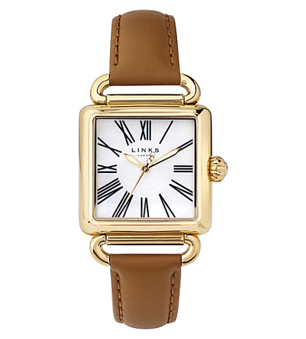 LINKS OF LONDON 6010.0426 Driver gold-plated leather watch (Gold