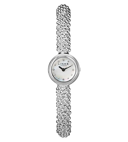 LINKS OF LONDON 6010.0601 Effervescence Star silver-plated stainless steel and mother-of-pearl watch (Silver