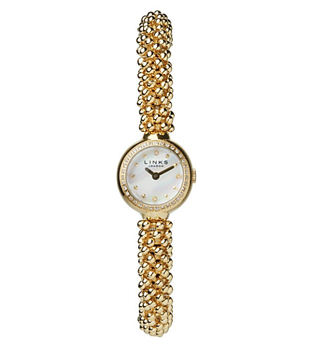 LINKS OF LONDON Effervescence Star yellow-gold and sapphire watch