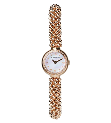 LINKS OF LONDON Effervescence Star rose-gold and sapphire watch (Rose+gold