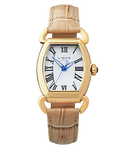 LINKS OF LONDON Driver Ellipse yellow-gold plated watch (Tan