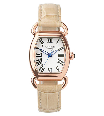 LINKS OF LONDON Driver Ellipse gold-plated leather watch (Tan