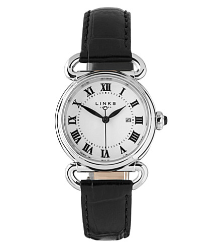 LINKS OF LONDON Driver stainless steel and leather round watch (Black