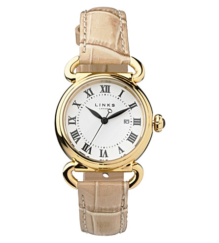 LINKS OF LONDON Driver yellow gold-plated watch (Tan