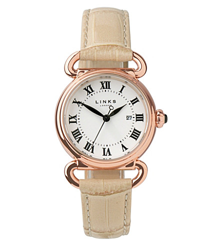 LINKS OF LONDON Driver rose gold-plated watch (Tan