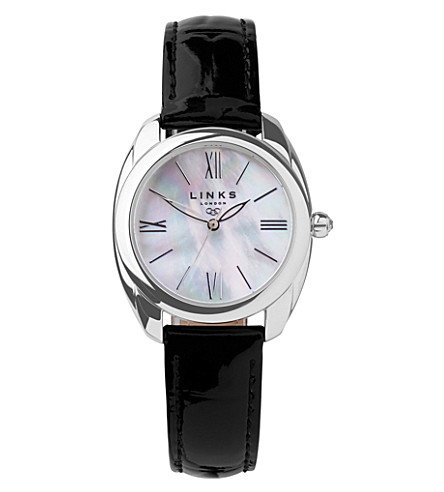 LINKS OF LONDON Bloomsbury stainless steel, mother-of-pearl and leather watch (Black