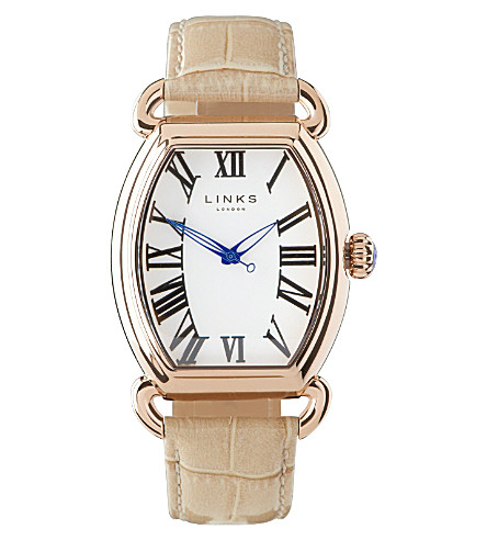 LINKS OF LONDON Driver ellipse stainless steel watch (Tan