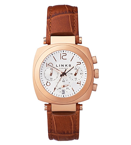 LINKS OF LONDON Brompton rose gold-plated leather chronograph watch (Rose+gold