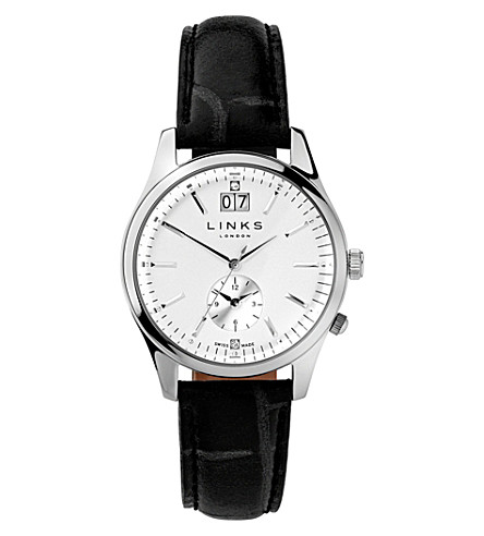 LINKS OF LONDON 6010.1459 Regent stainless steel and leather watch (Black