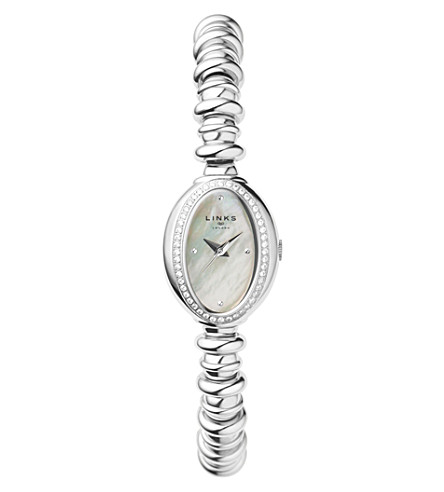 LINKS OF LONDON Sweetheart stainless steel and white topaz watch (Silver